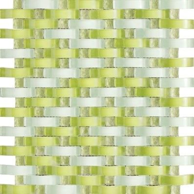 Buy 12x12 Vintrav Lime Green 3d Waves Glass Mosaic Tiles