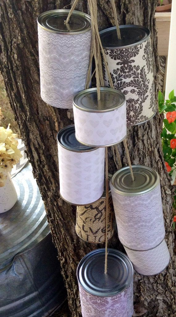 Getaway cans with style! Tie these to the back of the Bride and Groom's getaway car for a classic, but custom look.