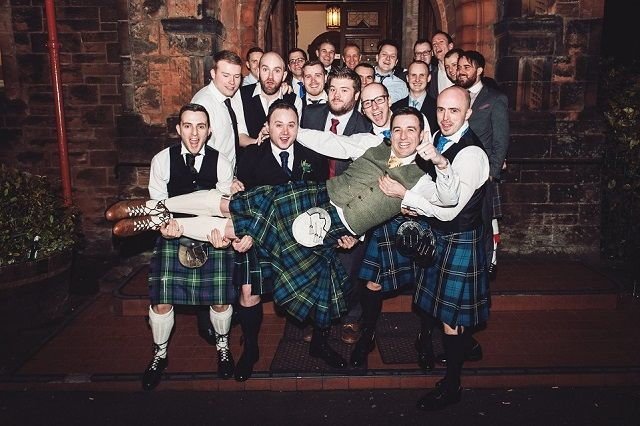 Alasdair and his groomsmen after the ceremony! #macgregorandmacduff #kingsofkilts #scottish #weddings #alasdairandclare #scottishwedding #macgregorandmacduffweddings