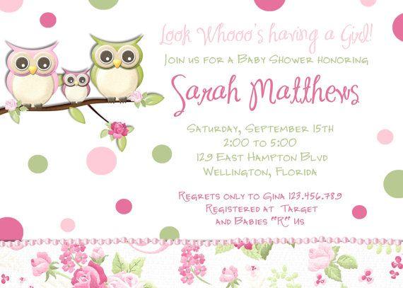 pink owl girl baby shower invitation owl family invite on etsy