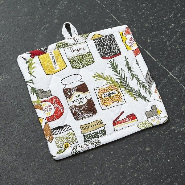 Crate & Barrel Spice World Pot Holder ($7.95) ❤ liked on Polyvore featuring home, kitchen & dining, kitchen linens, quilted pot holders, spice jars, crate and barrel, cotton pot holders and cotton dish towels