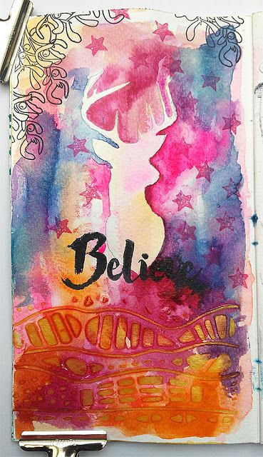 Susanne Rose Designs: Art Journal Page with Watercolors and STAMPlorations Stamps and Stencils