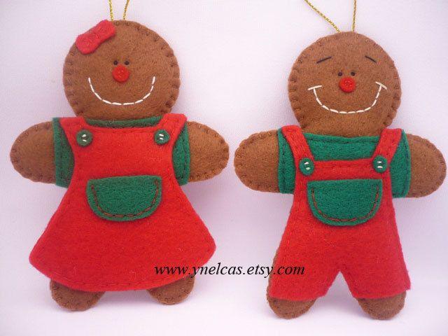 Gingerbread felt Christmas ornament   gingerbread boy by ynelcas, $16.99