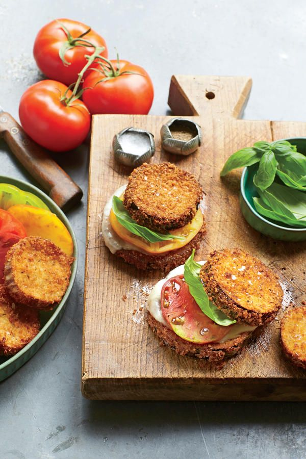 Fresh Tomato Recipes: Crispy Eggplant, Tomato, and Provolone Stacks with Basil