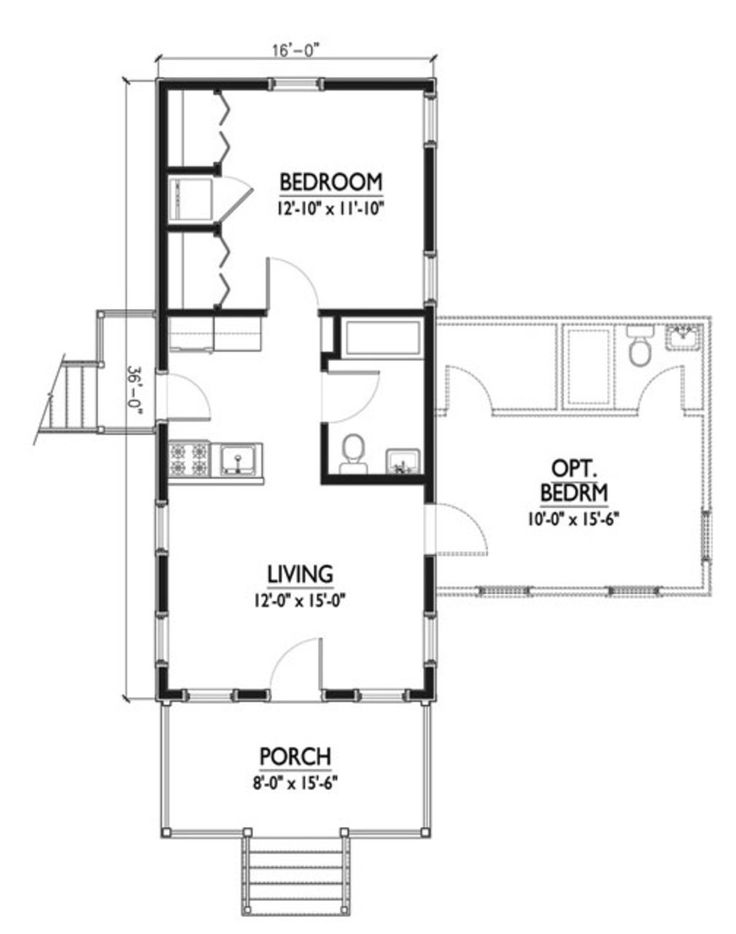 Cottage Style House Plan - 1 Beds 1 Baths 576 Sq/Ft Plan #514-6 Floor Plan - Main Floor Plan - Houseplans.com