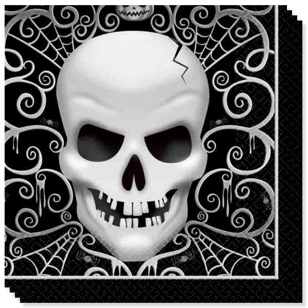 Ok, det er næsten For uhyggeligt! Party Skull er et sort og hvidt Halloween tema til borddækningen til Halloween og alle andre uhyggelige fester! Party Skull Halloween Servietter - Pakke med 16