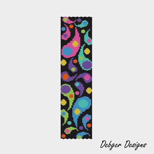 Colorful Droplets - Peyote Cuff Pattern (PATTERN SAVING buy 2 - 3rd free). $6.50, via Etsy.