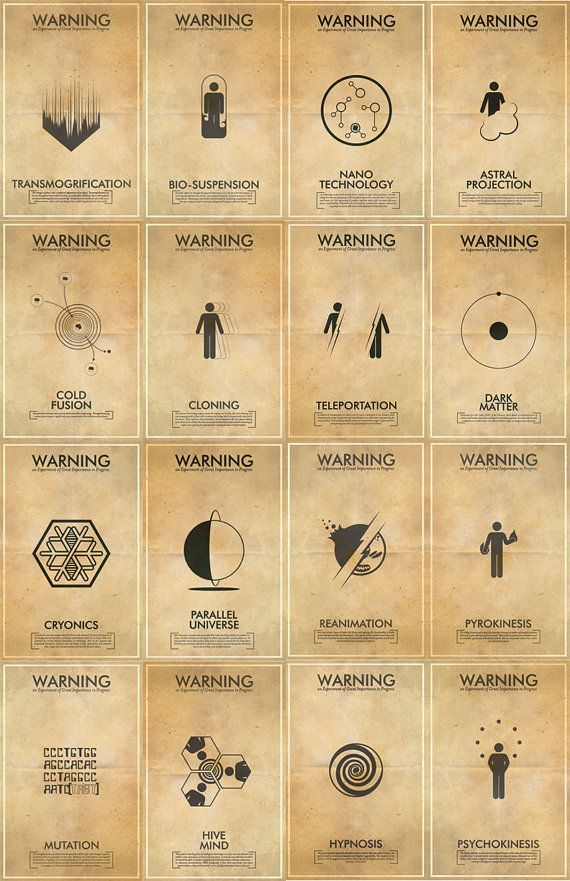 Icons - Science Fringe Science Fiction Inspired Iconography Poster Series - 16 11x17 Vintage Warning Posters. $256.00, via Etsy.