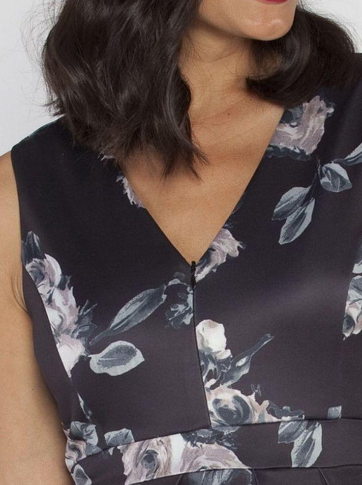 Angel Maternity Sleeveless Zipper Nursing Party Dress - Floral Print