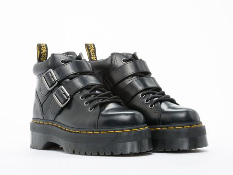 Dr. Martens Bryony Chunky Grunge Combat Ankle Boots in Black Polished at Solestruck.com
