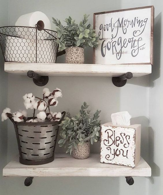 Cool bathroom farmhouse rustic style shelving with storage ideas and DIY signs