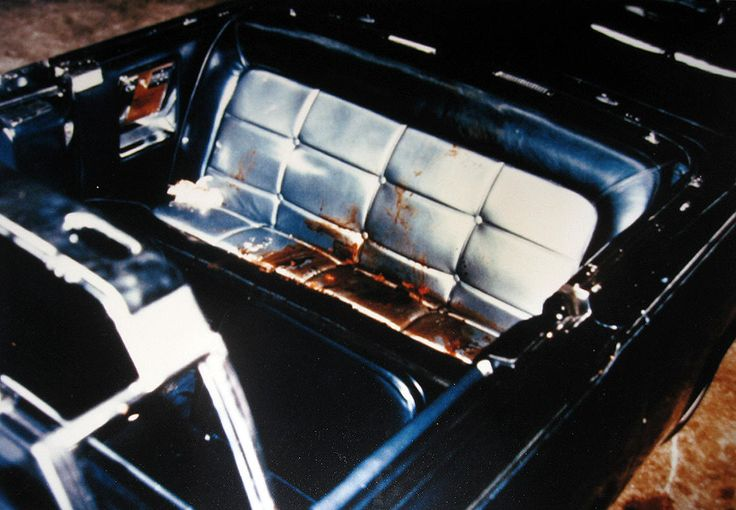 A sadly chilling photo of the bloodied rear seat of the Presidential limousine, after the assassination of John F. Kennedy.