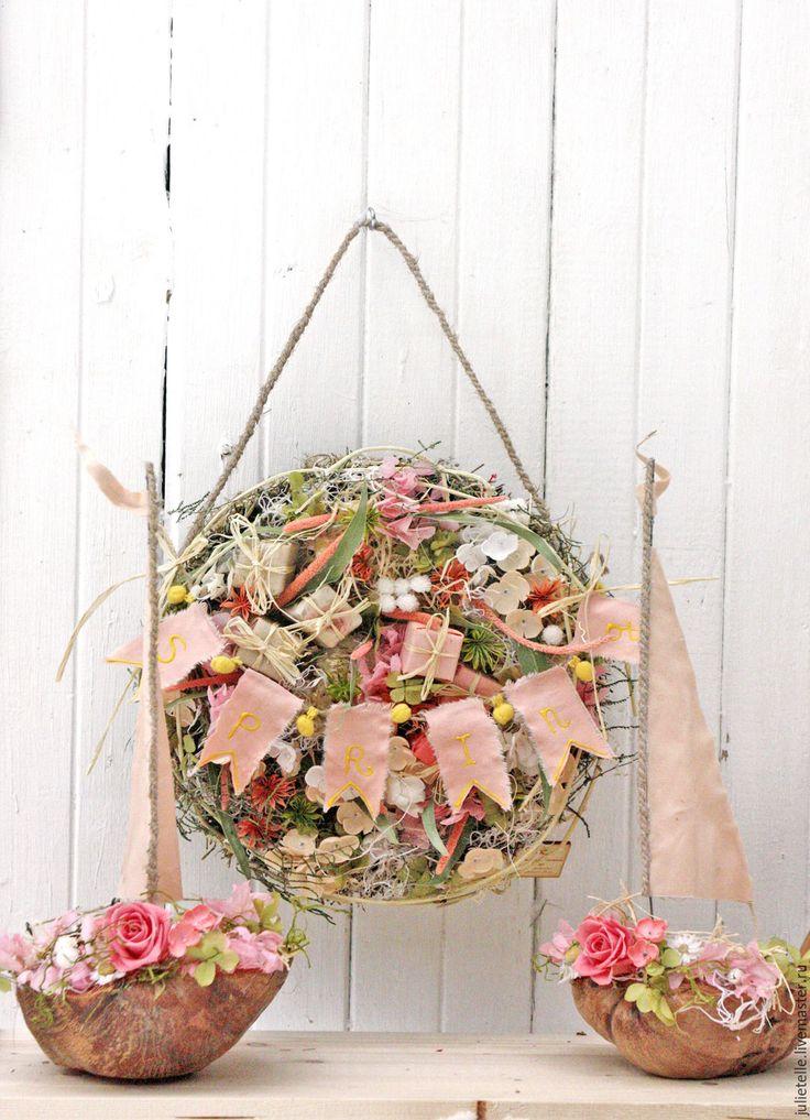 Купить Композиция Весенняя - коралловый, розовый, бежевый, декор стен, венок на дверь, весенний декор