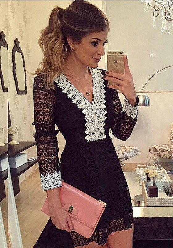 Black Patchwork Lace Hollow-out Crochet V-neck Long Sleeve Retro Sweet Mini Dress