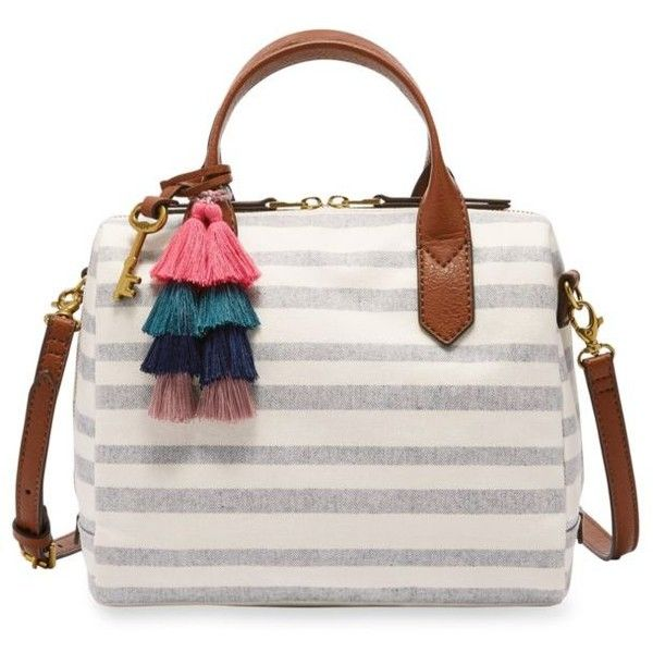 Fossil Fiona Satchel 128 Liked On Polyvore Featuring Bags Handbags Blue Stripe Satchel Handbags White Satchel Handb Fossil Satchel White Handbag Bags