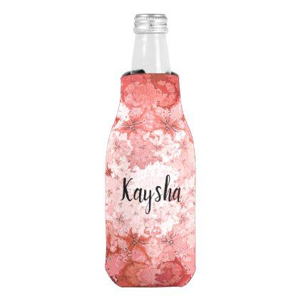 Red Pink Kaleidoscope Abstract Fractal Pattern Bottle Cooler - red gifts color style cyo diy personalize unique