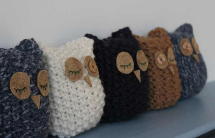 Easy knitted owls