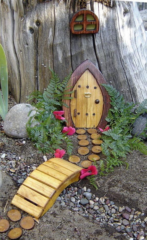 Miniature Garden Fairy Door Gnome Door Hobbit Door Elf by casualee,
