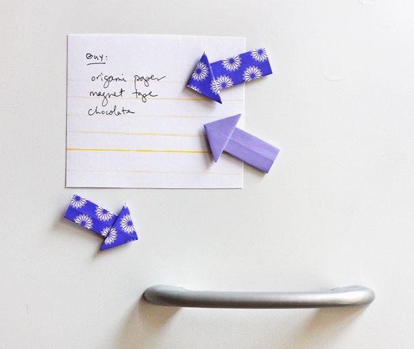 DIY: origami arrow magnets and tacks