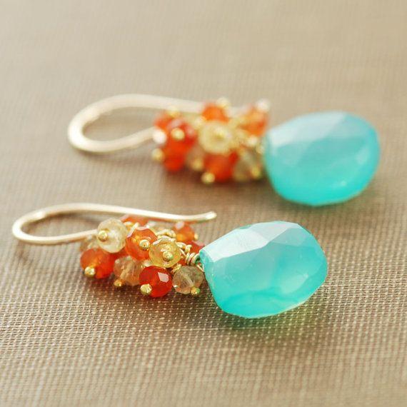 Playa pendientes, 14 k oro collar pendientes de piedras preciosas, Aqua naranja citrino cornalina pendientes, aubepine