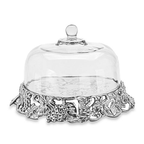 Arthur Court Designs Grape Aluminum Cake Tray with Glass Dome