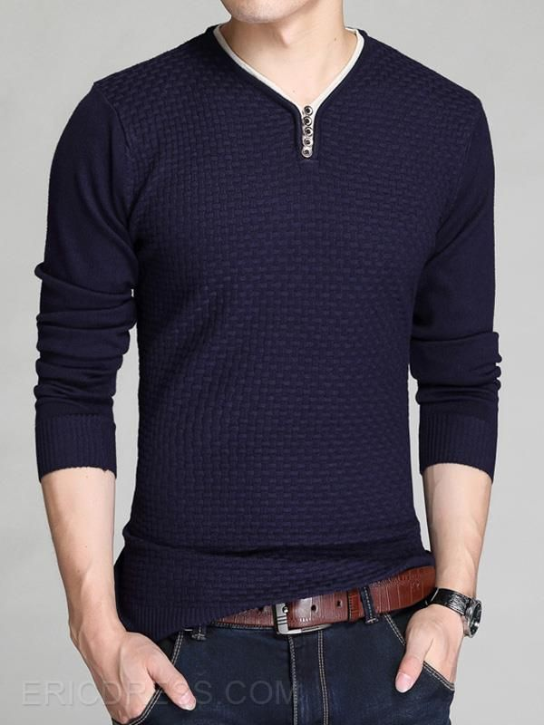 Ericdress V-Neck Jacquard Pullover Men's Sweater Men's Pullover Sweaters
