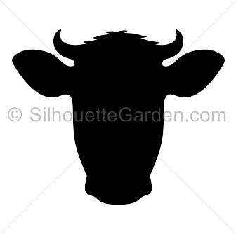 Cow head silhouette clip art. Download free versions of the image in EPS, JPG, PDF, PNG, and SVG formats at http://silhouettegarden.com/download/cow-head-silhouette/