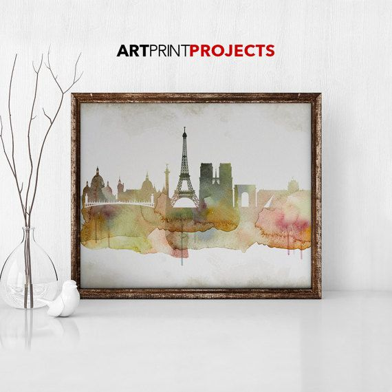 Paris print Travel poster City prints Wall art by ArtPrintProjects