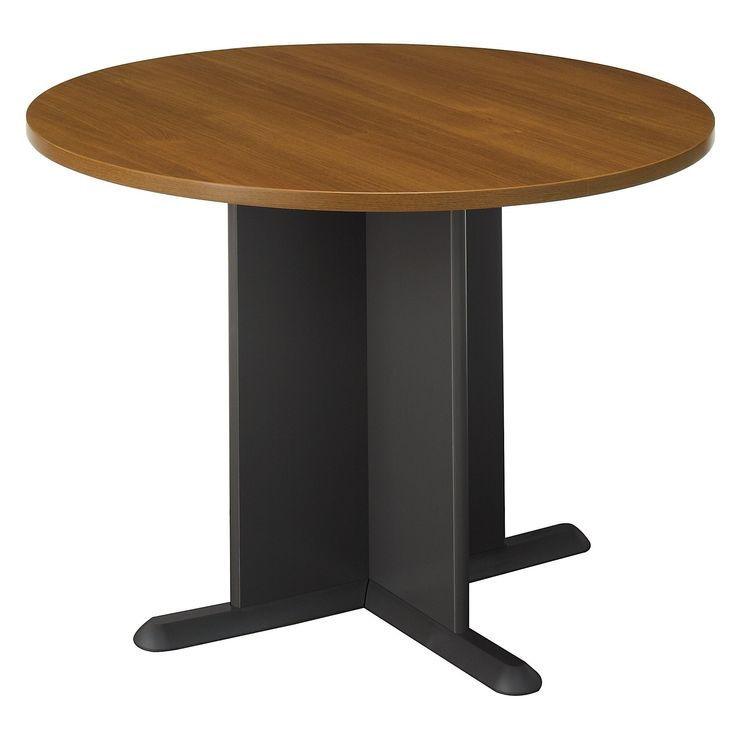 Bush Business Furniture Series C 42 Inch Round Conference Table in Warm Oak