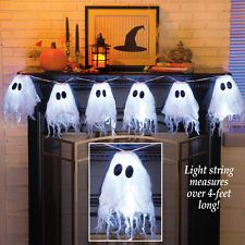 Cordless Battery Powered LED Lighted Halloween Ghost String Lights