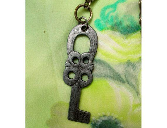 Celtic Runes Key amulet Pendant Necklace, Viking, Gothic, Skeleton, Tribal, Pewter, Key fob, Zipper Charm, Gift idea
