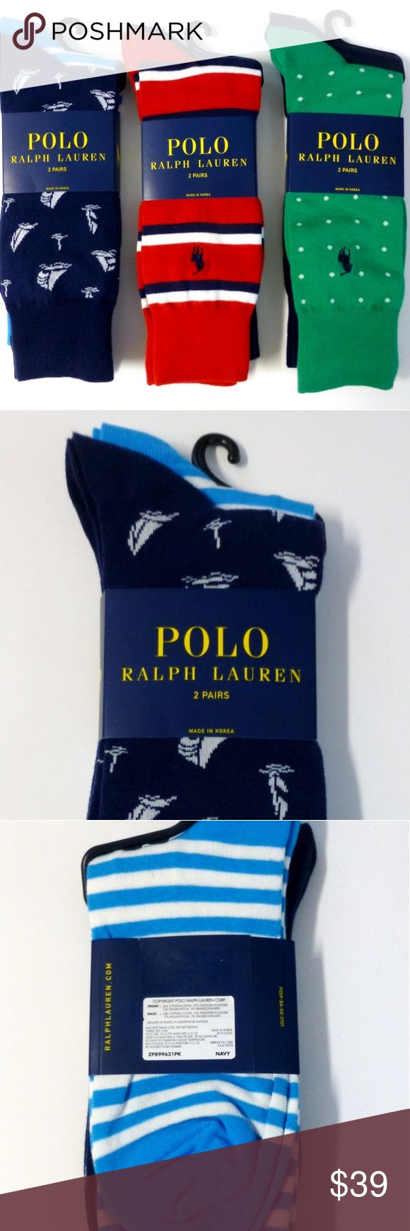 Polo Ralph Lauren 6 pairs cotton blend socks nwt New with tags. Total of 6 pairs (3 packs of 2). 1 navy sailboat pattern. 1 turquoise striped. 1 red striped. 1 green dot pattern. 2 solid navy. The red and the green socks have the pony logo. Polo by Ralph Lauren Underwear & Socks Casual Socks