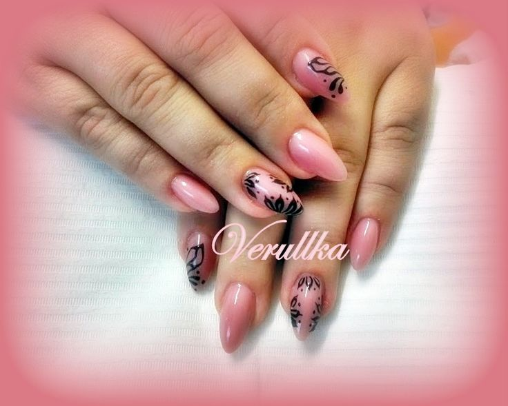Nude gel nails with black hand drawing