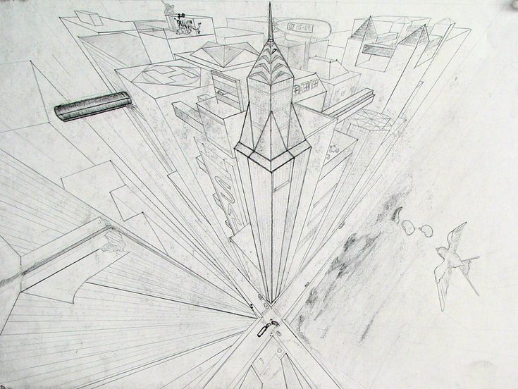 3 point perspective drawing of city.