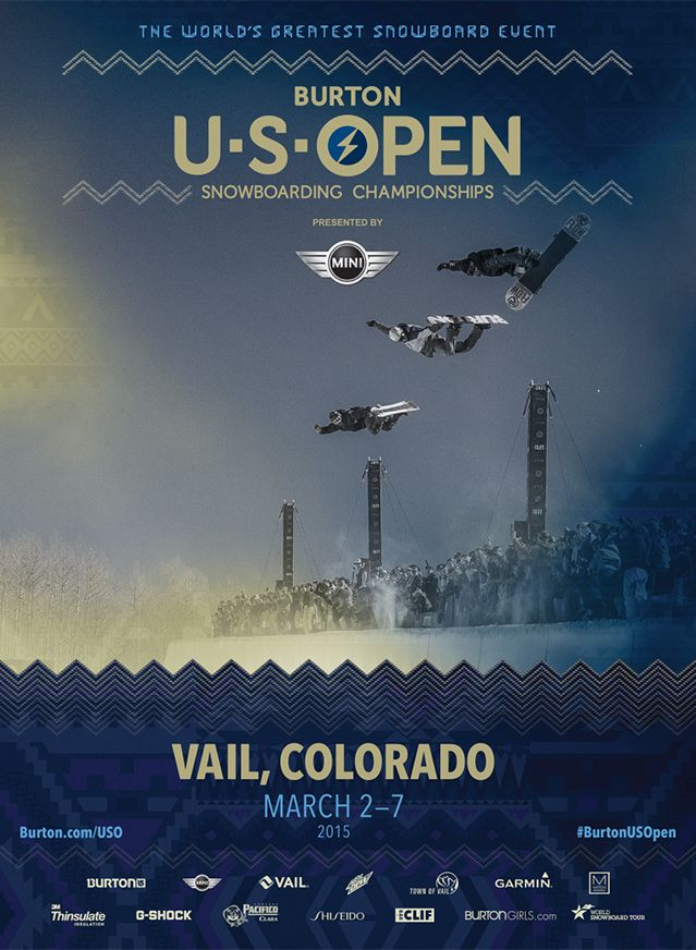 Announcing the 33rd annual Burton US Open Snowboarding Championships presented by MINI at Vail, Colorado.  Come and watch the action in person or via live webcast on Burton.com. For full details check Burton.com/USO. #BurtonUSOpen