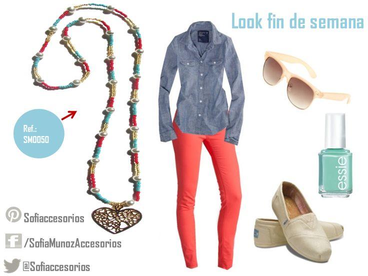 Al fin llego el fin de semana! ¿Qué tal este look relajado con los colores del momento #Turquesa y #Rojo para hacer vueltas el sábado o el domingo? ⇨ http://sofiamaccesorios.wix.com/sofiamunozaccesorios ⇦  #Collares #Accesorios #Moda #Outfit