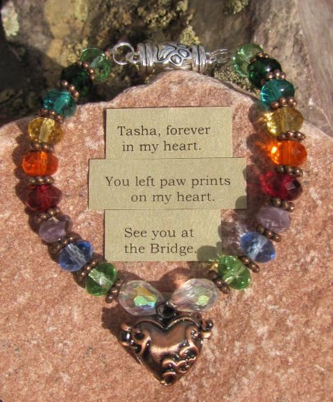 Personalized Rainbow Bridge Prayer Box Pet Memory Bracelet, by Auntie Angel Designs. Beautifully gift-boxed and ready for gift giving.  A copy of the Rainbow Bridge poem is included and 25% of the purchase price is donated to the charity/shelter/cause of your choice! $50.00
