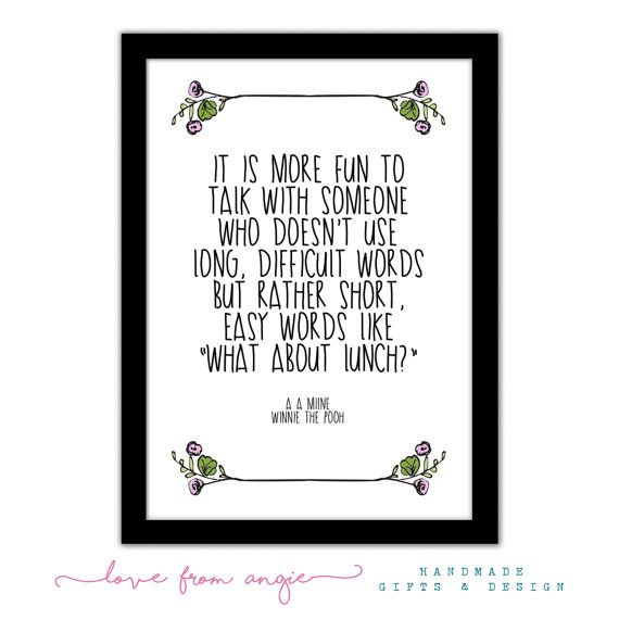 Winnie The Pooh - What About Lunch Quote - Framed Typography Quote A4 Print