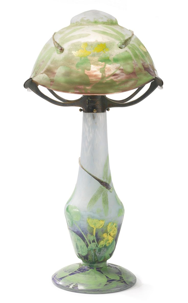 """More Art Nouveau than Arts and Crafts but I'm putting it here becuase dragonflies are an Arts and Crafts image and I LOVE THIS - I would kill to own this lamp, sighhh.....""""DRAGONFLY"""" TABLE LAMP * DAUM NANCY  circa 1903"""