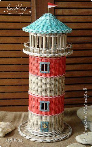"""Конспиративная квартира для туалетной бумаги типа """"Маяк"""". Сделан как дополнение к набору сплетеному ранее http://stranamasterov.ru/node/1013153  Диаметр 15,5 см в высоту 44 см без крыши, вмещает 4 рулона. Бумага чистая газетная 10,5 см на спицу 1,5. Красила пропитка дюфа дуб, палисандр, колоры снежка. Грунтовала лак+вода 1:1, лакировала лаком для саун и бань 2 раза. фото 1"""