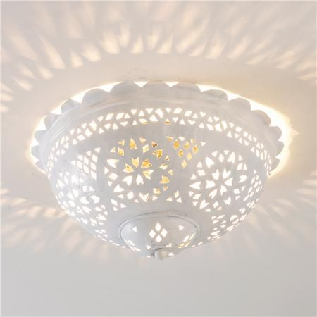 Moroccan Scalloped and Pierced Metal Ceiling Light