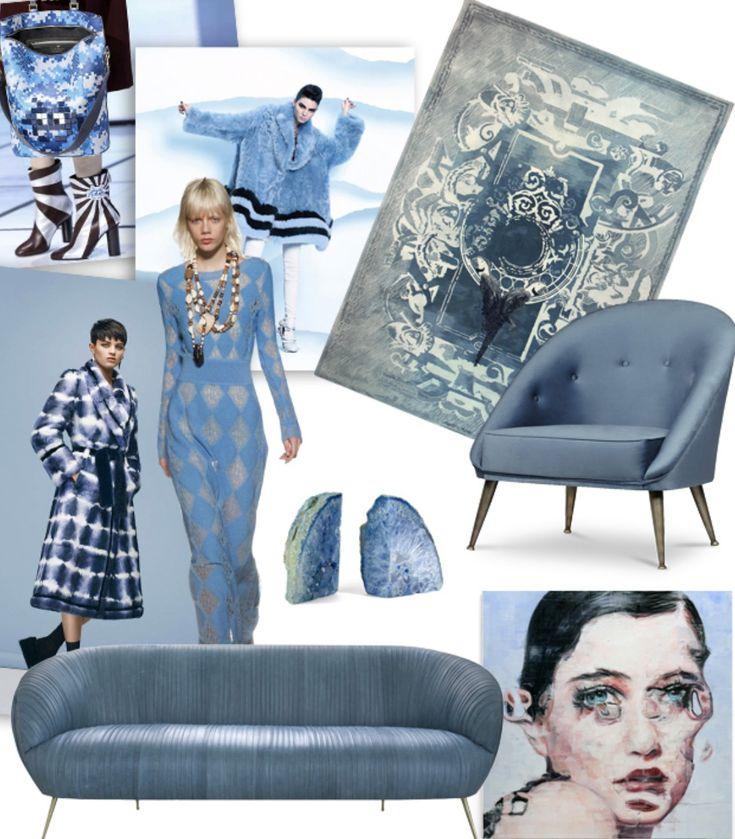 #lightblue #blue #denim #fashion #chair #sofa #rug #art #blauw #lichtblauw #mode #interieur #bank #stoel #mini #moodboard #minimoodboard #leemwonen #blogazine
