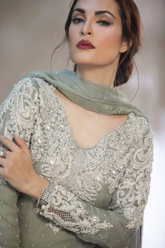 Stunning Nadia khan in grey pakistani formal
