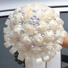 2014 новый свадебный букет, Свадебный шелковый держатель цветок довольно украшения букет с лентой цвета слоновой кости Aslo может выбрать другой цвет(China (Mainland))