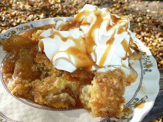 Everyday Dutch Oven: Caramel Apple Cinnamon Dump Cake  Caramel Apple Cinnamon Dump Cake 2 21 oz cans apple pie filling 1 (1 lb) box yellow cake mix 1/2 cup (1 stick) butter, cut into thin slices 2 tsp cinnamon 3/4 of 14 oz jar caramel ice cream topping