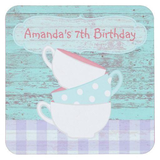 Girl's Birthday Cupcake Tea Party Shabby-Chic Fun Square Paper Coaster