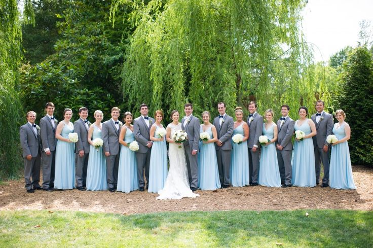 Black tie by Bel Fiore - tuxedo and suit rentals in Marietta, greater Atlanta.  Grey suits with light blue Capri bridesmaids #billlevkoff