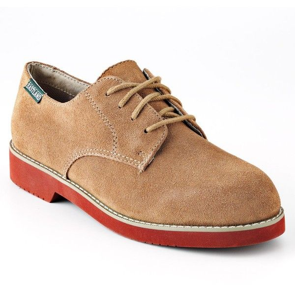 Eastland Buck Women's Oxford Shoes ($60) ❤ liked on Polyvore featuring shoes, oxfords, tan, suede oxford shoes, suede shoes, low heel shoes, suede oxfords and oxford lace up shoes