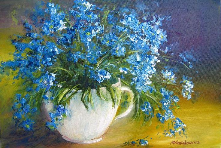 Niezabudki - Maria Roszkowska - obraz olejny