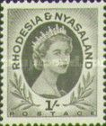 Rhodesia and Nyasaland, 1.7.1954, Queen Elizabeth II., No.10, 1Sh black. Mint condition 1,65 USD. Stamped 0,11 USD.